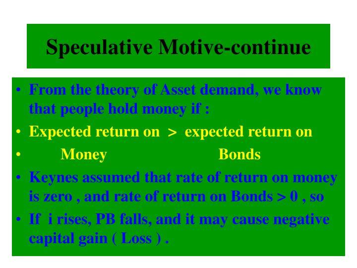 Speculative Motive-continue