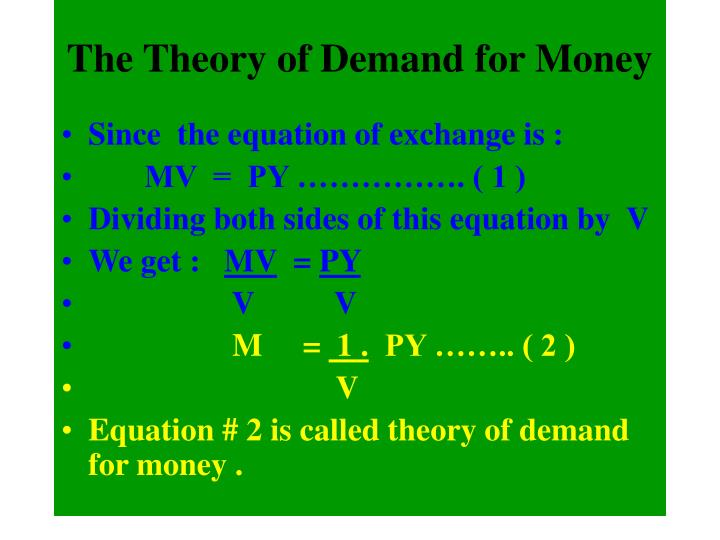 The Theory of Demand for Money