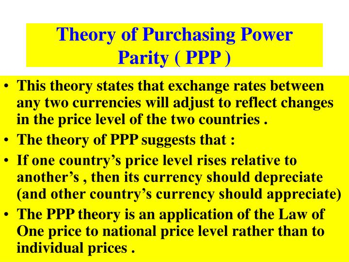 Theory of Purchasing Power Parity ( PPP )
