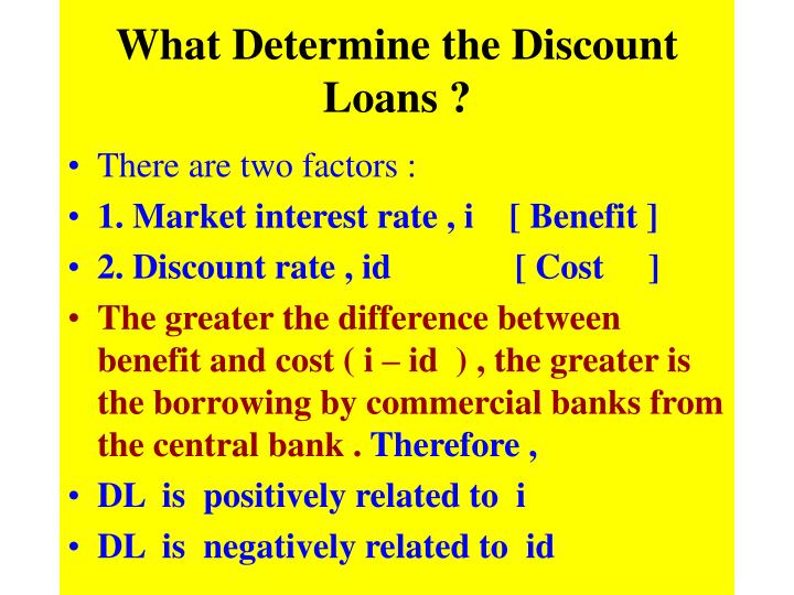 What Determine the Discount Loans ?