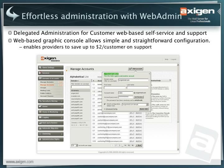 Effortless administration with WebAdmin