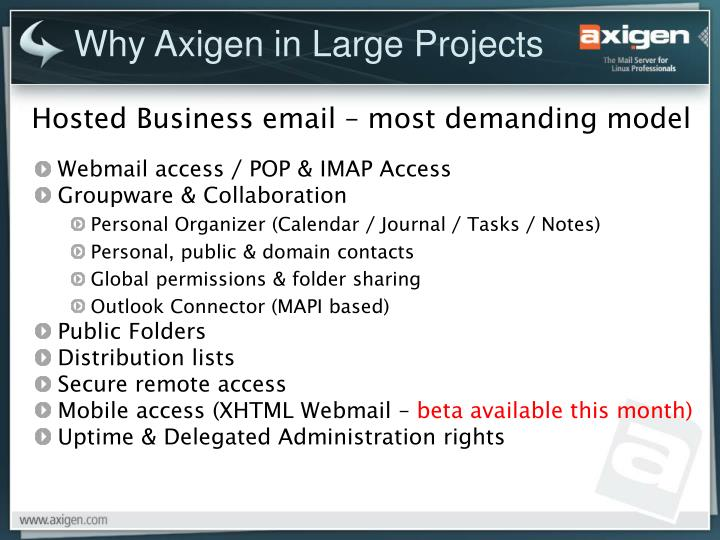 Why Axigen in Large Projects