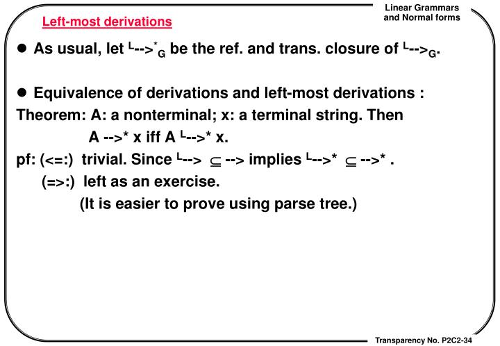 Left-most derivations