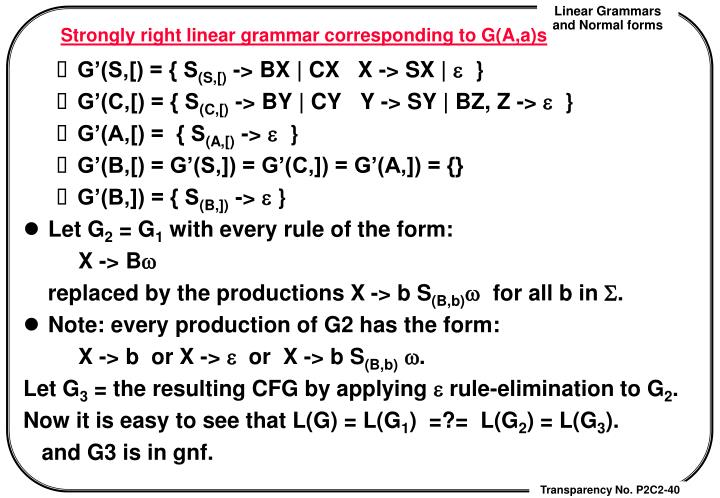 Strongly right linear grammar corresponding to G(A,a)s