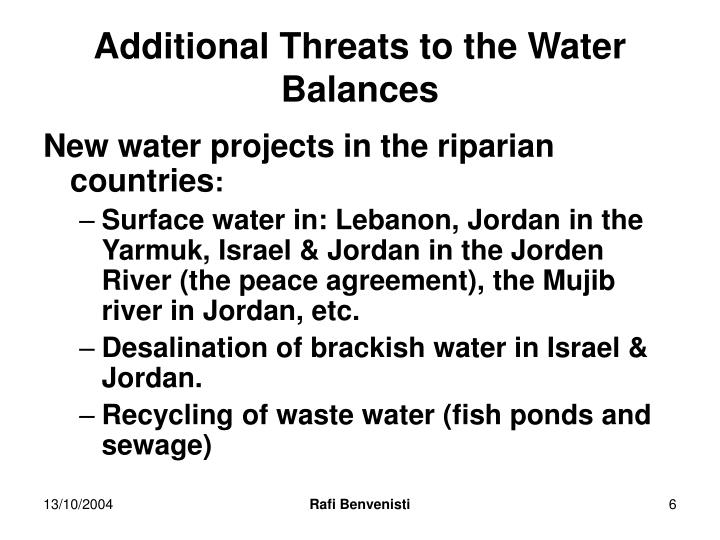 Additional Threats to the Water Balances