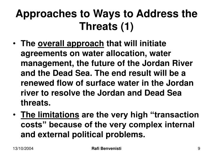 Approaches to Ways to Address the Threats (1)