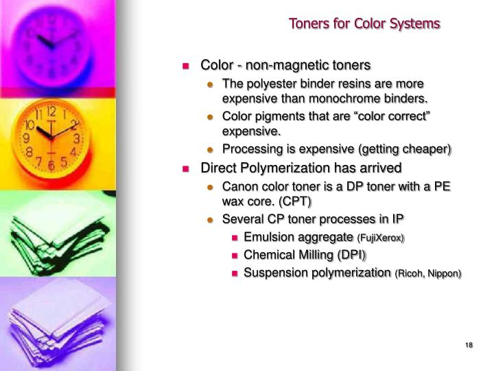 Toners for Color Systems