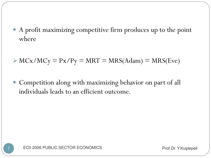 A profit maximizing competitive firm produces up to the point where
