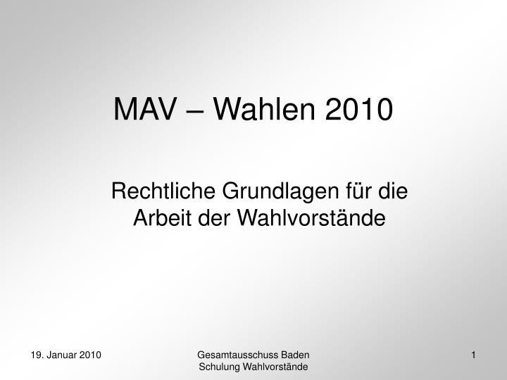 mav wahlen 2010