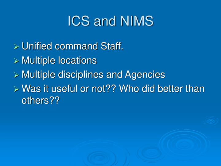 ICS and NIMS