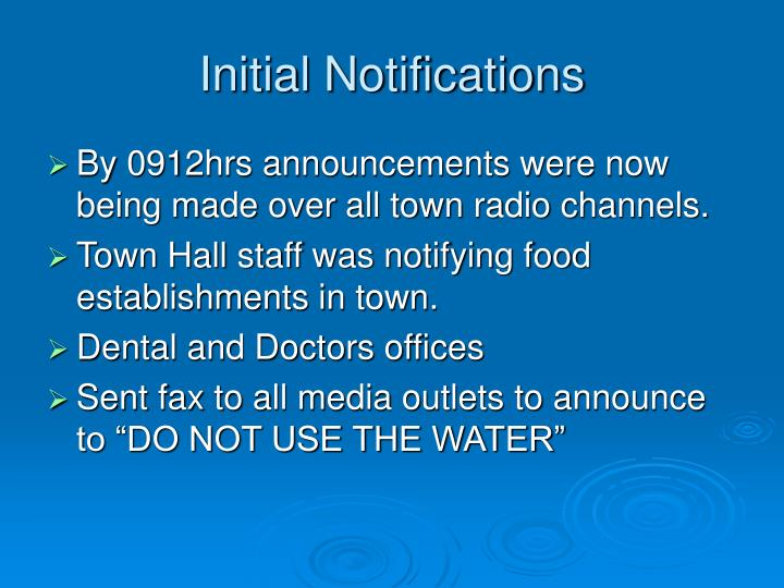 Initial Notifications
