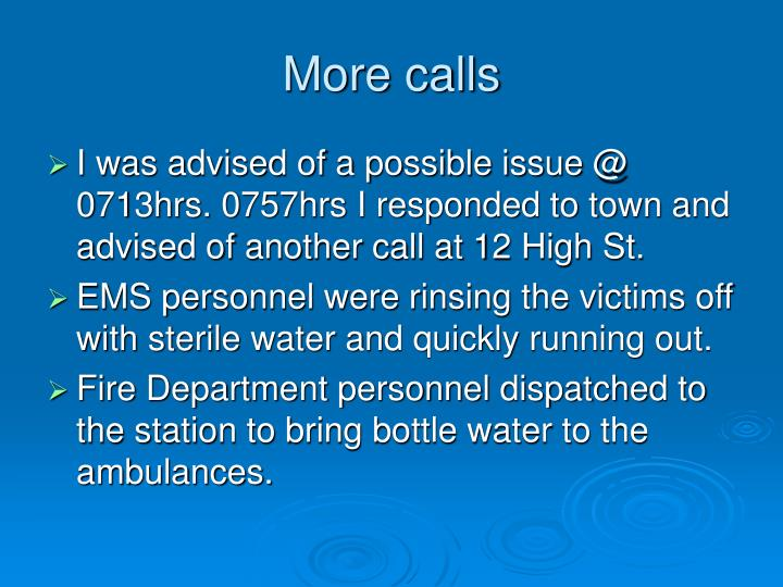 More calls