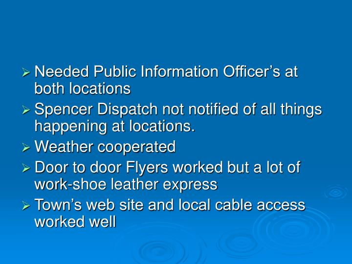 Needed Public Information Officer's at both locations