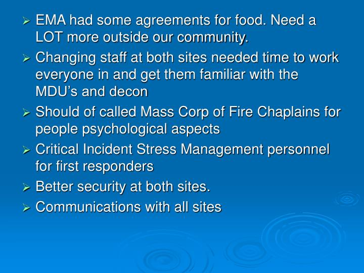 EMA had some agreements for food. Need a LOT more outside our community.