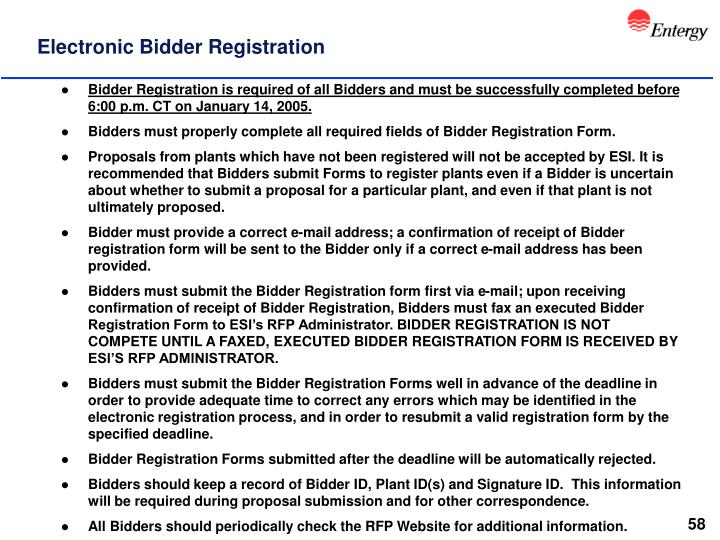 Electronic Bidder Registration