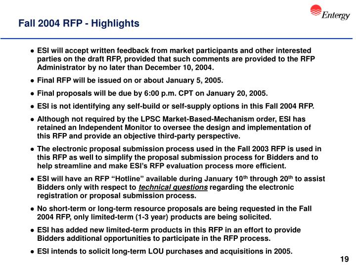 Fall 2004 RFP - Highlights