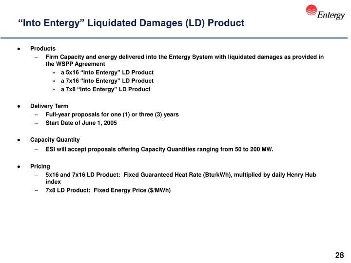 """Into Entergy"" Liquidated Damages (LD) Product"