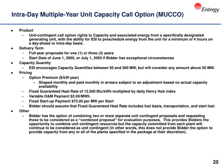 Intra-Day Multiple-Year Unit Capacity Call Option (MUCCO)