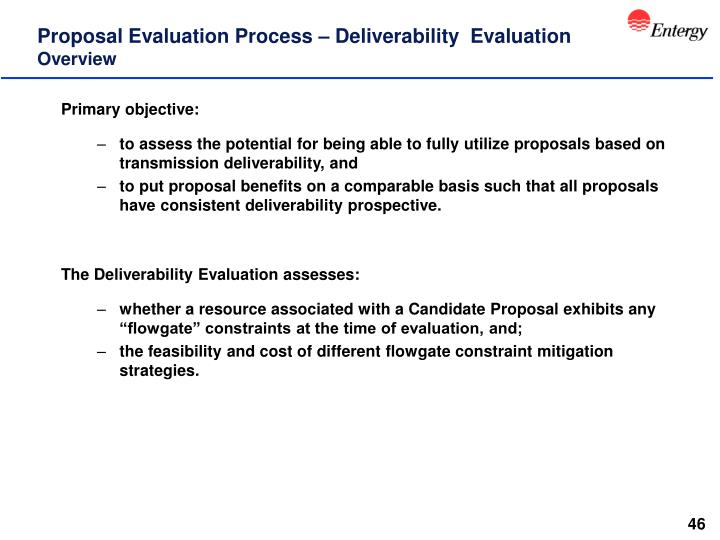 Proposal Evaluation Process – Deliverability  Evaluation