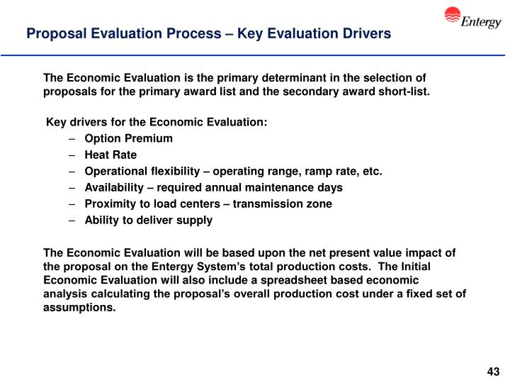 Proposal Evaluation Process – Key Evaluation Drivers