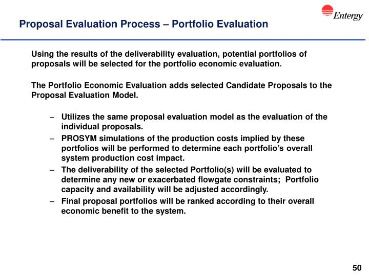 Proposal Evaluation Process – Portfolio Evaluation