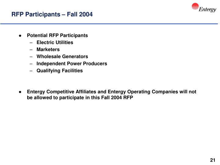 RFP Participants – Fall 2004
