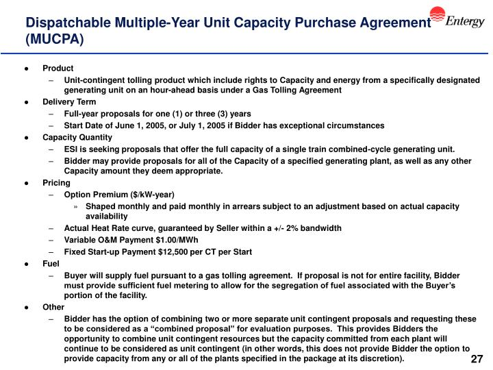 Dispatchable Multiple-Year Unit Capacity Purchase Agreement (MUCPA)