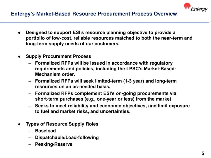 Entergy's Market-Based Resource Procurement Process Overview