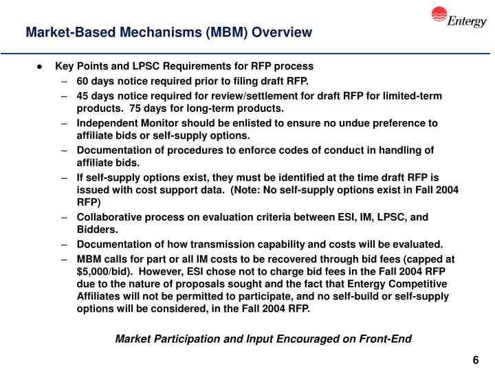 Market-Based Mechanisms (MBM) Overview