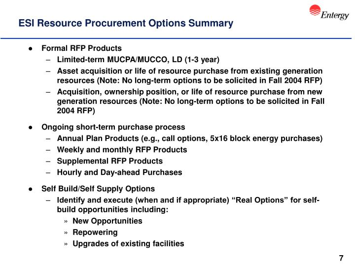 ESI Resource Procurement Options Summary