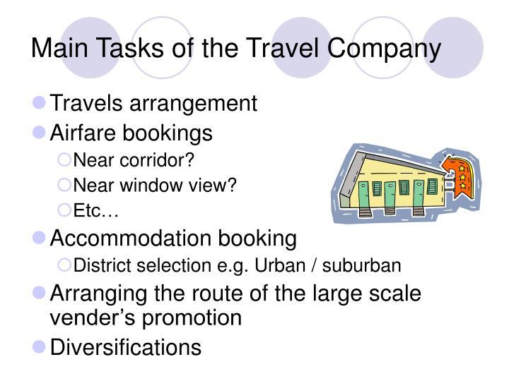 Main Tasks of the Travel Company