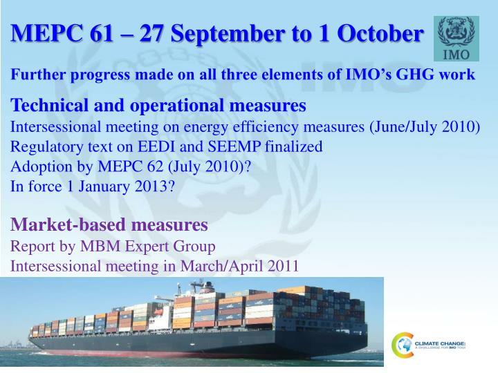 MEPC 61 – 27 September to 1 October