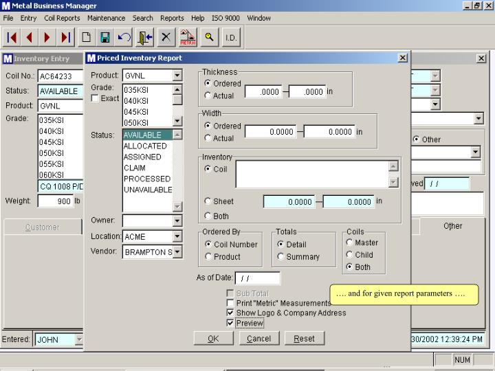 …. and for given report parameters ….