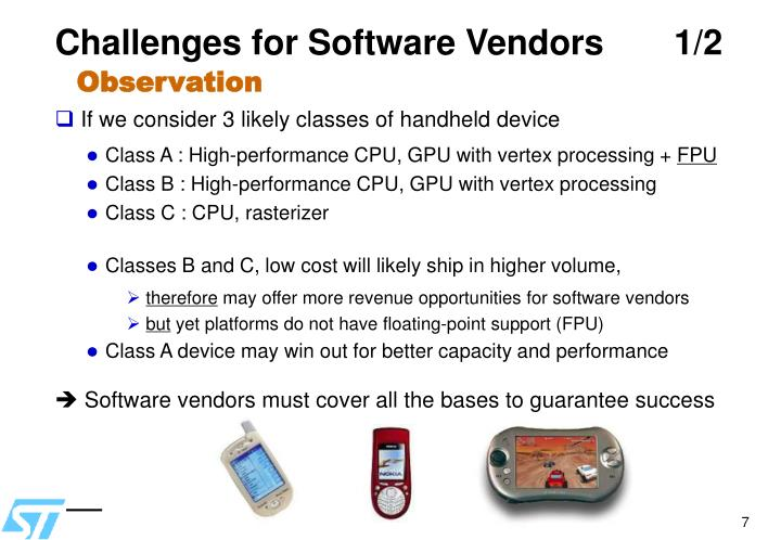 Challenges for Software Vendors 1/2
