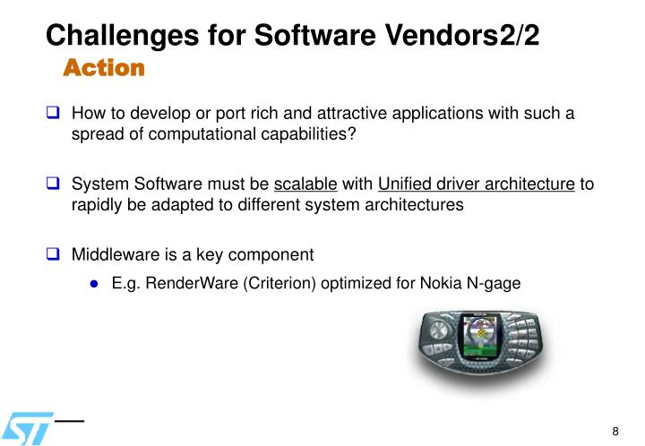 Challenges for Software Vendors2/2