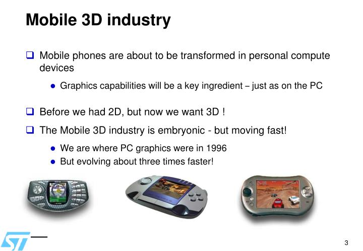 Mobile 3D industry