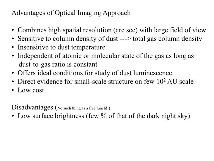 Advantages of Optical Imaging Approach