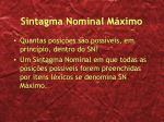sintagma nominal m ximo