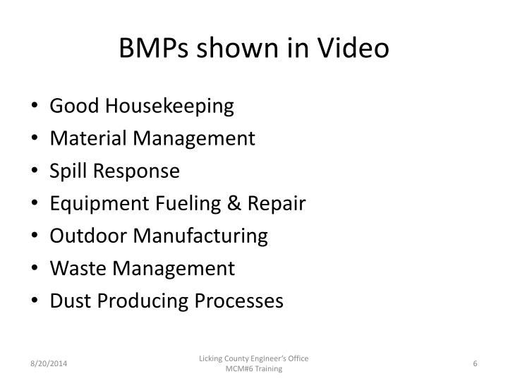 BMPs shown in Video