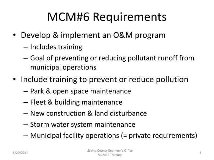 MCM#6 Requirements
