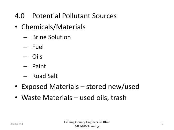 4.0Potential Pollutant Sources