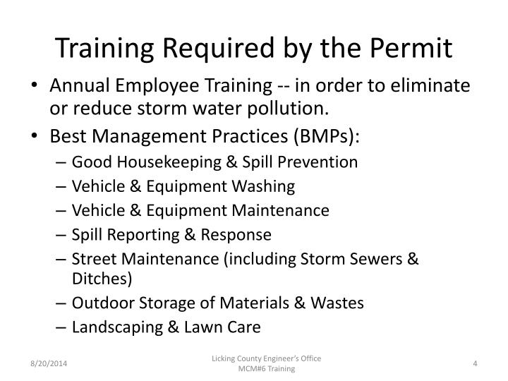 Training Required by the Permit