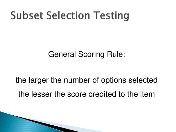 Subset Selection Testing