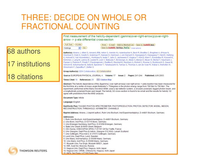 THREE: DECIDE ON WHOLE OR FRACTIONAL COUNTING