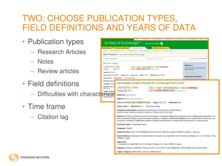 TWO: CHOOSE PUBLICATION TYPES, FIELD DEFINITIONS AND YEARS OF DATA