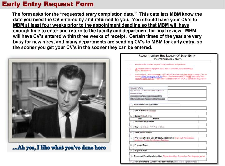 Early Entry Request Form