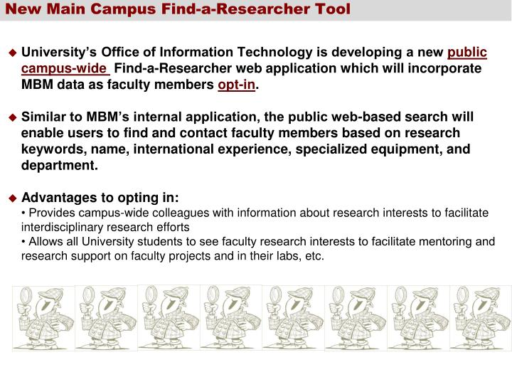 New Main Campus Find-a-Researcher Tool