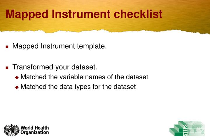 Mapped Instrument checklist