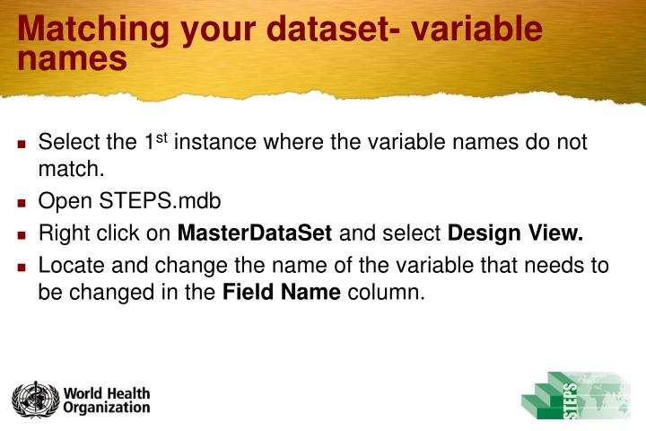Matching your dataset- variable names