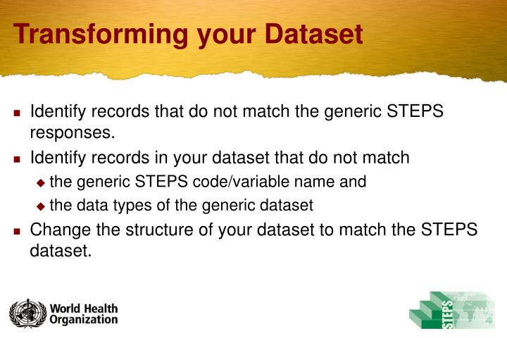 Transforming your Dataset